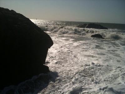 San Francisco Ocean Beach Waves Black and White